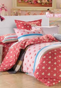 Yanasen Small Lovely Heart Design Fitted Bedding Set With Quilt Cover (King)