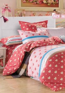 Yanasen Small Lovely Heart Design Fitted Bedding Set With Quilt Cover (Queen)