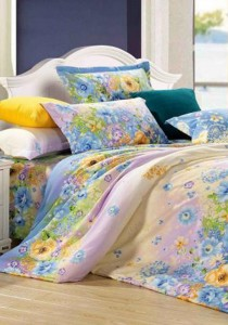 Yanasen Sunny Flower Design Fitted Bedding Set With Quilt Cover (King)