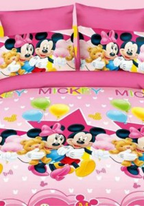 Yanasen Sweet Pinky Mickey Design Fitted Bedding Set With Quilt Cover (King)