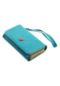 Momorain WM Korea Fashion Synthetic Leather Multipurpose Clutch (Blue)