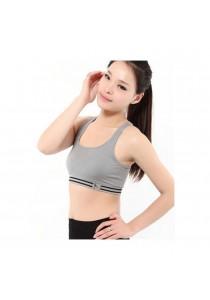Womens Sexy Yoga Workout Tank Top Stretch Seamless Racerback Fitness Sports Bra Grey