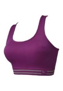 Womens Sexy Yoga Workout Tank Top Stretch Seamless Racerback Fitness Sports Bra Purple