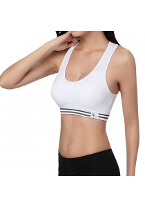 Womens Sexy Yoga Workout Tank Top Stretch Seamless Racerback Fitness Sports Bra White