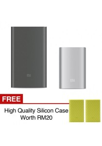 Xiaomi Mi Powerbank 10000mAh Pro 10000 Slim Type C USB Fast Charging Power Bank Miband 2 Apple + Silicon Case Green