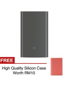 Xiaomi Mi Powerbank 10000mAh Pro 10000 Slim Type C USB Fast Charging Power Bank Miband 2 Apple + Silicon Case Red