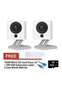 2 Sets Xiaomi Small Square Xiao Fang Yi CCTV IP Camera Night Vision 1080P Full HD (White) + Mi WIFI Repeater Extender (White)