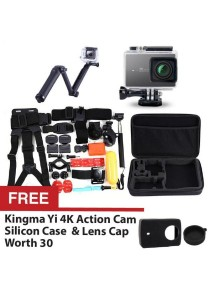Original Kingma Xiaomi Yi Xiaoyi Sport Action 4K Sports Camera Waterproof Case 40m Black + 3-Way Expendable Monopod + 30 in 1 Bundle Accessories Head Chest Mount Floating Grip Converter Bag + FREE Silicon Case Cover Black + Lens Cap Black