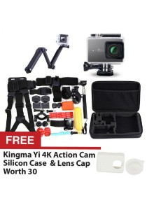 Original Kingma Xiaomi Yi Xiaoyi Sport Action 4K Sports Camera Waterproof Case 40m White + 3-Way Expendable Monopod + 30 in 1 Bundle Accessories Head Chest Mount Floating Grip Converter Bag + FREE Silicon Case Cover Black + Lens Cap White