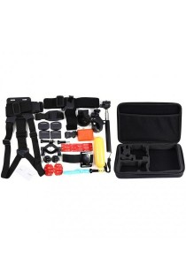 [30-In-1 Bundle] GoPro Accessories Full Set For Hero 4 3 SJ4000 Yi with Adapter Helmet Strap Monopod Bag