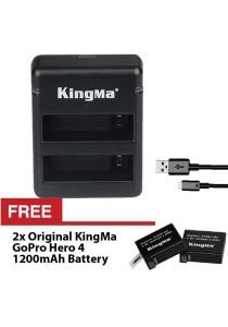 Kingma GoPro Hero 4 Dual Port USB Battery AHDBT-401 Charger + 2x FREE 1200mAh Extra Capacity Battery