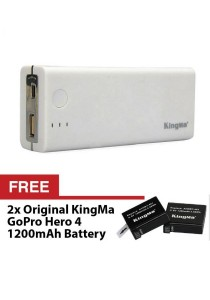 Kingma BM022 GoPro Hero 4 Power Bank Dual Port Battery Charger For Backup Powerbank and Travel (White)