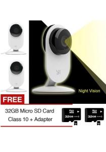 XiaoMi XiaoYi Yi Night Vision 720P HD 8MP IP Camera WiFi Home Security CCTV Webcam + Free 32GB SD Card Class 10 x 2