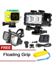 Underwater 40M Diving LED Video Light with Battery Adapter Mount For GoPro Hero 3/4 Yi Action Camera + Yi Camera Waterproof Case + Floating Goggles Mask Bundle + Free Floating Grip