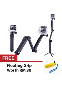 GoPro 3-Way Monopod Extension Arm For Hero 4 3+ and 2 For Yi Action Cam and Sports Photography (Black) + Free Floating Grip