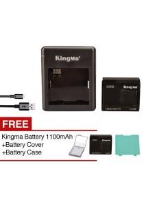 KingMa XiaoMi Xiaoyi Action Yi Sport Camera Li-ion 1010mAh Battery + Dual Charger + Free 1100mAh Battery + Free Cover Green + Free Battery Cover
