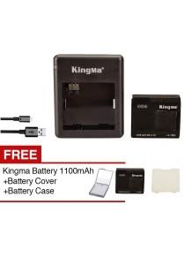 KingMa XiaoMi Xiaoyi Action Yi Sport Camera Li-ion 1010mAh Battery + Dual Charger + Free 1100mAh Battery + Free Cover White + Free Battery Cover