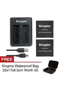 Kingma Xiaomi Mi YI Sport Action Camera 2 4K Dual Rechargeable Battery Cable Set Backup AZ16-1 1400mah + FREE Kingma Waterproof Bag Case