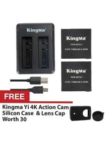 Kingma Xiaomi Mi YI Sport Action Camera 2 4K Dual Rechargeable Battery Cable Set Backup AZ16-1 1400mah + FREE Kingma Silicon Case & Lens Cap Black