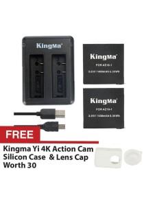 Kingma Xiaomi Mi YI Sport Action Camera 2 4K Dual Rechargeable Battery Cable Set Backup AZ16-1 1400mah + FREE Kingma Silicon Case & Lens Cap White