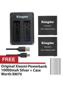 Kingma Xiaomi Mi YI Sport Action Camera 2 4K Dual Rechargeable Battery Cable Set Backup AZ16-1 1400mah + FREE Xiaomi Powerbank 10000mah Silver