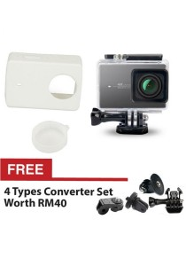 Original Kingma Xiaomi Yi Xiaoyi Sport Action 4K Sports Camera Waterproof Case 40m White + Silicon Case Cover White + Lens Cap + FREE 4 Types Converter Sets
