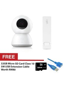 Original Xiaomi Mijia Smart Camera 1080P Full HD YI CCTV Webcam IP WiFi Wireless Mi Home App Remote Control + USB WiFi Amplifier Extender + FREE 32GB Micro SD Card Class 10 + 5m USB Extension Cable