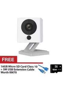 Xiaomi Small Square Xiao Fang Yi CCTV MI IP Camera Night Vision 1080P Full HD (White) + FREE Micro SD Card Class 10 16GB + FREE High Speed Extension Cable USB2.0 5M
