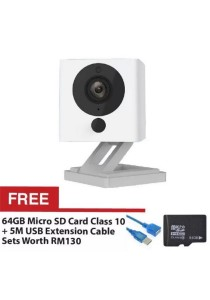 Xiaomi Small Square Xiao Fang Yi CCTV MI IP Camera Night Vision 1080P Full HD (White) + FREE Micro SD Card Class 10 64GB + FREE High Speed Extension Cable USB2.0 5M