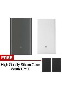 Xiaomi Mi Powerbank 10000mAh Pro 20000mAh Slim Type C USB Fast Charging Power Bank Miband 2 Apple + Silicon Case Black