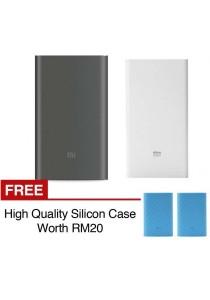 Xiaomi Mi Powerbank 10000mAh Pro 20000mAh Slim Type C USB Fast Charging Power Bank Miband 2 Apple + Silicon Case Blue