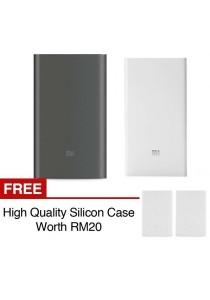 Xiaomi Mi Powerbank 10000mAh Pro 20000mAh Slim Type C USB Fast Charging Power Bank Miband 2 Apple + Silicon Case White