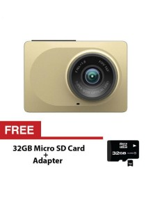 "Xiaomi Xiaoyi Yi Car Dash Driving Recorder Camera 2.7"" Inch 165 Degree 1080P FHD UHD CCTV Security - Gold Original - FREE 32GB SD Card"