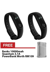 Xiaomi Miband 2 Black Wistband Bracelet Heart Rate Touch OLED Mi Band 2 Imported Free 10000mah Benks Quantum PowerBank