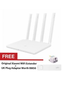Xiaomi MiWiFi 3 Wireless AC1200 4 Antenna 2.4Ghz 5Ghz Dual Band Router AC Smartphone App Control (White) + FREE Xiaomi USB WiFi Extender + UK Plug Adapter