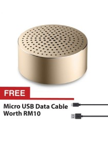 Original Xiaomi Portable Mini Mi Bluetooth Speakers Metal Steel Wireless Smart Hands Free Rechargeble Speaker - Gold + FREE Micro USB Data Cable