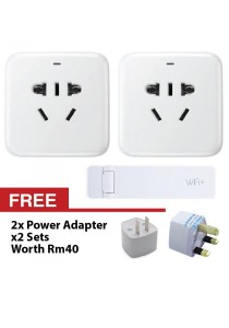 Xiaomi Smart Intelligent WiFi Plug Power Wireless Control Socket Remote Adaptor Basic Version + WiFi Extender With EU/AU/UK/US Adapter (White) + FREE US AU Plug Converter