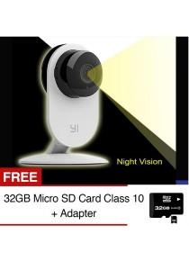 XiaoMi XiaoYi Yi Night Vision 720P HD 8MP IP Camera WiFi Home Security CCTV Webcam + Free 32GB SD Card Class 10