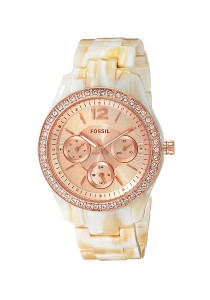 Fossil Stella Multi-Function Rose Dial Pearlized Resin Ladies Watch ES3578