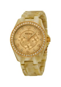 Fossil Stella Multi-Function Rose Dial Pearlized Resin Ladies Watch ES3579
