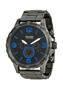 Fossil Nate Chronograph Black Dial Steel Men's Watch JR1478