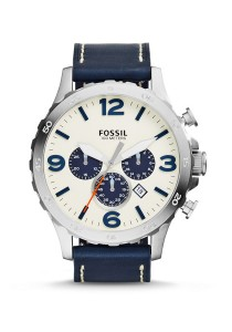 Fossil Nate Chronograph Navy Leather Strap Men's Watch JR1480