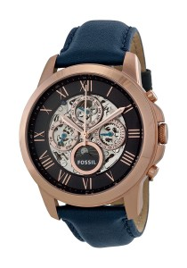 Fossil Grant Multi-Function Black Skeletal Dial Navy Leather Men's Watch ME3029