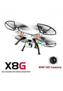 Syma X8G 2.4G Drone Camera 4CH With 8MP HD Camera Headless Mode RC Quadcopter (Silver)