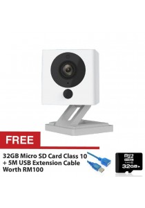 Xiaomi Small Square Xiao Fang Yi CCTV MI IP Camera Night Vision 1080P Full HD (White) + FREE Micro SD Card Class 10 32GB + FREE High Speed Extension Cable USB2.0 5M
