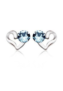 OUXI 925 Sterling Silver Love Earrings (Aquamarine)
