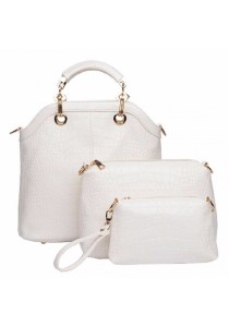 Fashion Style Crocodile Print and Metallic Design Women's Tote Bag