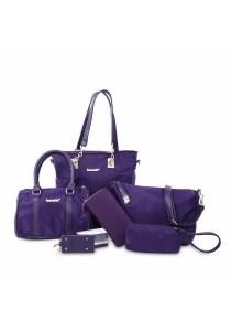 Fashion Solid Color and Metal Logo Design Women's Shoulder Bag (Purple)