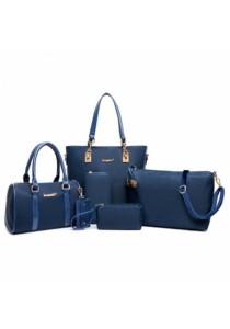 Fashion Solid Color and Metal Logo Design Women's Shoulder Bag (Blue)