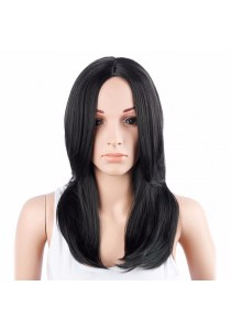 Fashion Medium Straight Middle Part Black Synthetic Hair Wig for Women